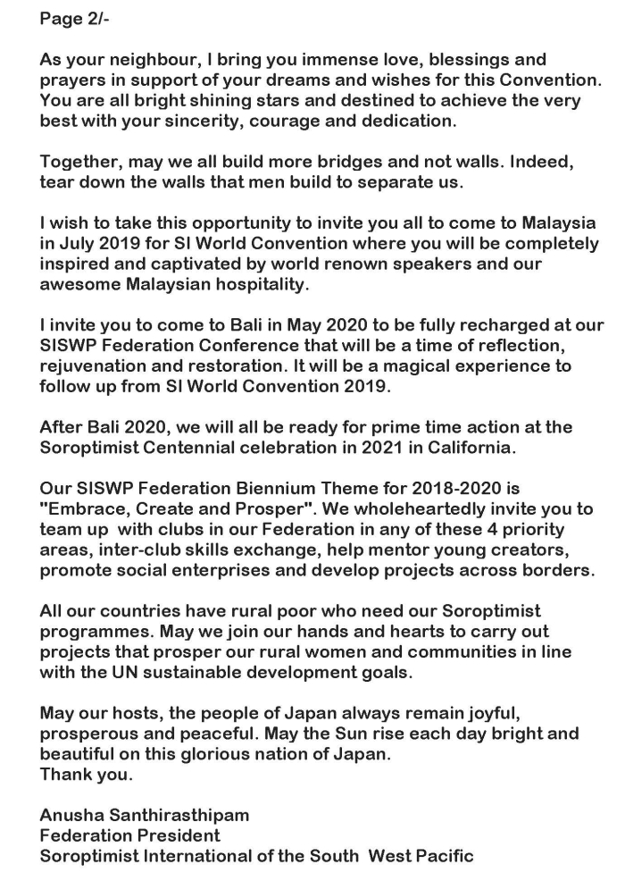 SISWP PRESIDENTS ADDRESS SIA 45TH BIENNIAL CONVENTION YOKOHAMA JAPAN 30 JULY 2018 Page 2